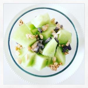 Healthy snack: Meloen met muesli